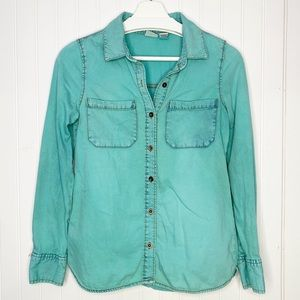 MUDD Turquoise Blue Button Down Shirt, S